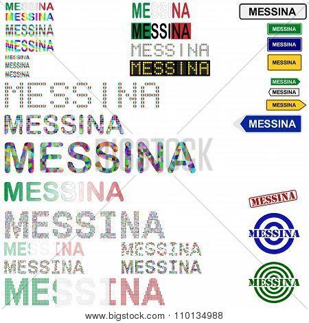 Messina text design set