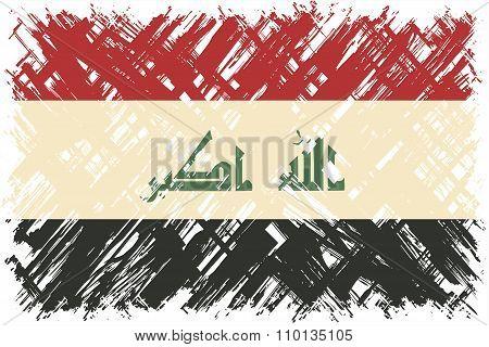 Iraqi grunge flag. Vector illustration.