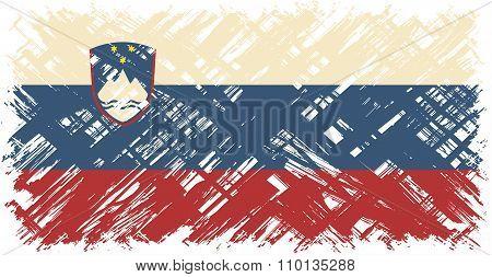 Slovenian grunge flag. Vector illustration.