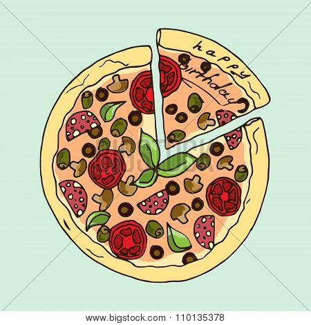 Illustration. Appetizing Pizza. Happy Birthday.