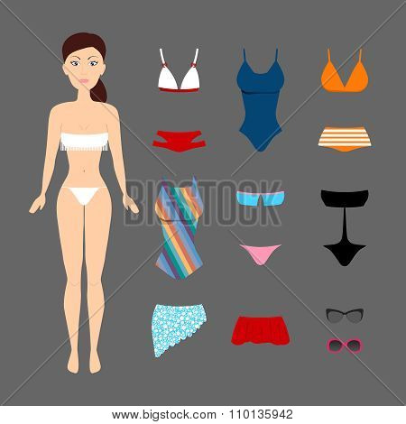 Cute brunette girl with swimsuits set. Paper doll game. Summer time. Beach style collection.