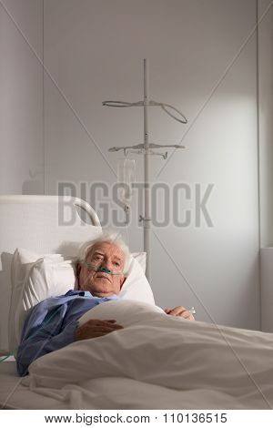 Elder Patient On A Drip