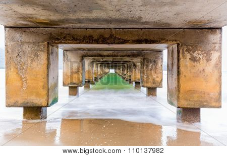 Underside Of Hanalei Pier Long Exposure