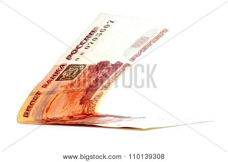 Five Thousand Russian Ruble Banknote Folded Isolated On White Background