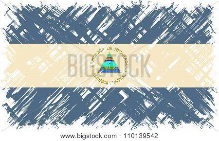 Nicaraguan grunge flag. Vector illustration.