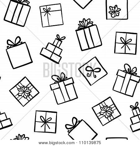 Hand Drawn Seamless Pattern With Gift Boxes