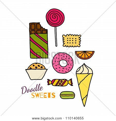 Hand Drawn Icon Set Of Cookies, Chocolates, Cakes And Candies