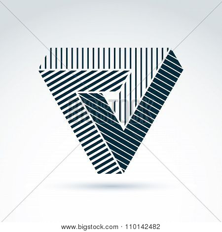 Vector Abstract Triangle Composed From Three Parts. Geometric Symbol, Checkmark With Parallel Stripe