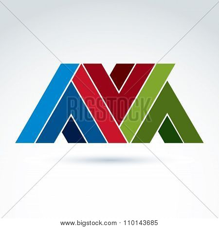 Vector Abstract Element Created From Checkmarks And V Signs. Geometric Colorful Symbol Isolated On W