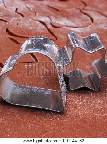 Metal Cookie Cutters And Dough For Gingerbread