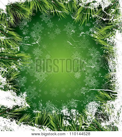 Christmas card with white snowflakes on green background, pine branch and icy texture. New Year invitation. Vector illustration. Christmas party flyer template with copy space.