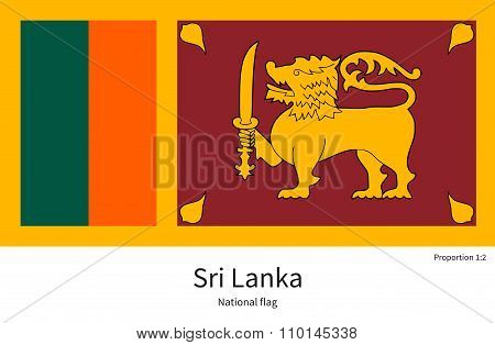 National flag of Sri Lanka with correct proportions, element, colors