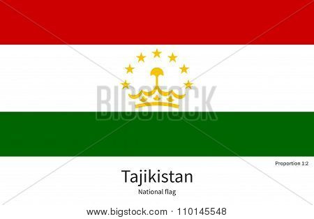 National flag of Tajikistan with correct proportions, element, colors