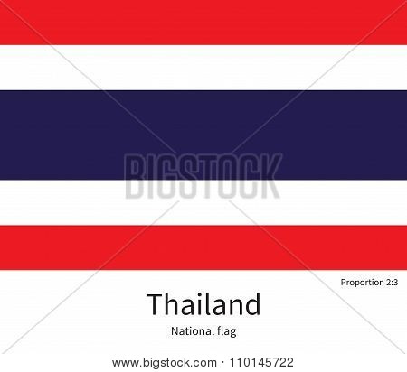 National flag of Thailand with correct proportions, element, colors