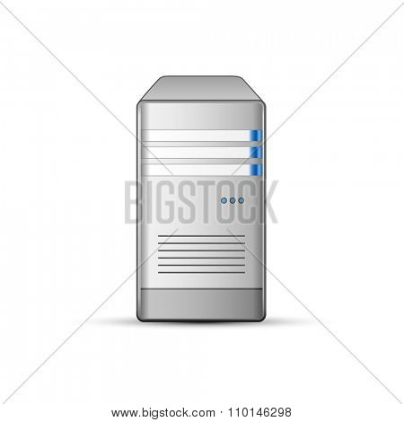 Computer server icon. Communication and hosting objects series. Vector illustration