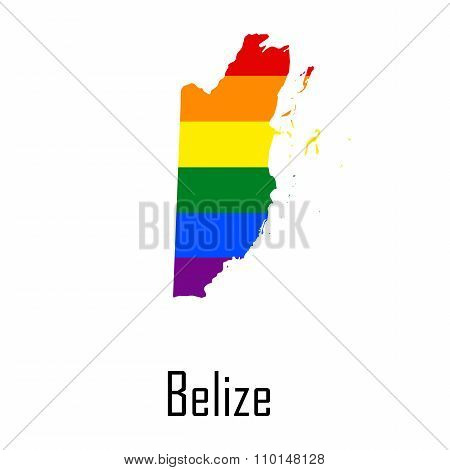 Vector Rainbow Map Of Belize In Colors Of Lgbt - Lesbian, Gay, Bisexual, And Transgender - Pride Fla