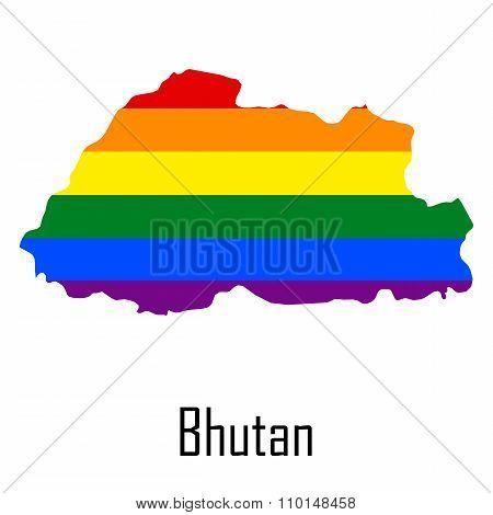 Vector Rainbow Map Of Bhutan In Colors Of Lgbt - Lesbian, Gay, Bisexual, And Transgender - Pride Fla