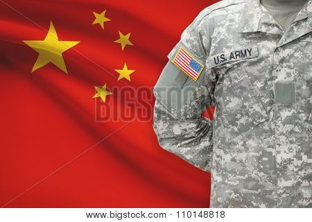 American Soldier With Flag On Background - People's Republic Of China