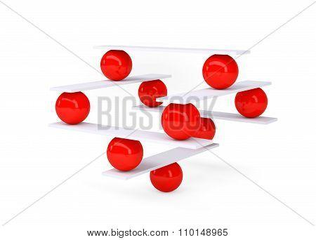 Red round balls, balance