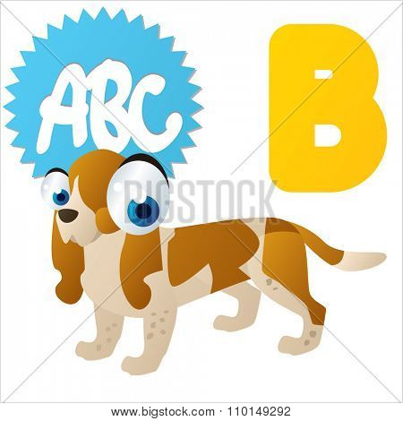 vector cute comic cartoon colorful animal alphabet collection: B  is for Basset