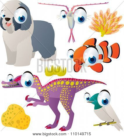 vector cute comic cartoon animals set for book or app or cards or banner or sticker illustration: dog, plankton, clown fish, dinosaur, bird
