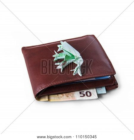 Wallet With Euro Bills And Hundreds Of Euros Toad