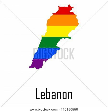 Vector Rainbow Map Of Lebanon In Colors Of Lgbt - Lesbian, Gay, Bisexual, And Transgender - Pride Fl