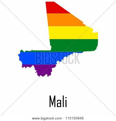 Vector Rainbow Map Of Mali In Colors Of Lgbt - Lesbian, Gay, Bisexual, And Transgender - Pride Flag.