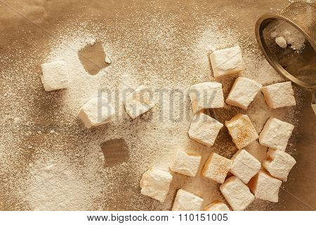 Turkish Delight With Sugar Top View