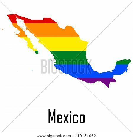 Vector Rainbow Map Of Mexico In Colors Of Lgbt - Lesbian, Gay, Bisexual, And Transgender - Pride Fla