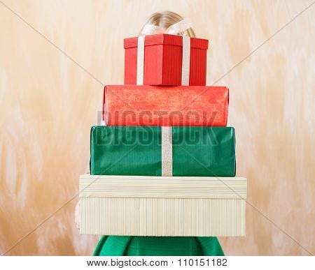 Different sized present boxes