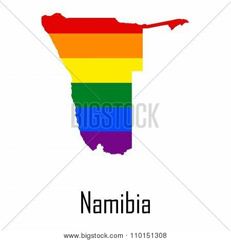Vector Rainbow Map Of Namibia In Colors Of Lgbt - Lesbian, Gay, Bisexual, And Transgender - Pride Fl