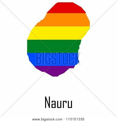 Vector Rainbow Map Of Nauru In Colors Of Lgbt - Lesbian, Gay, Bisexual, And Transgender - Pride Flag