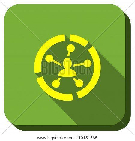 Social Links Diagram Longshadow Icon