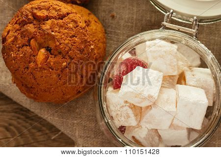 Oatmeal Biscuits And Jar With Sweeties Top View