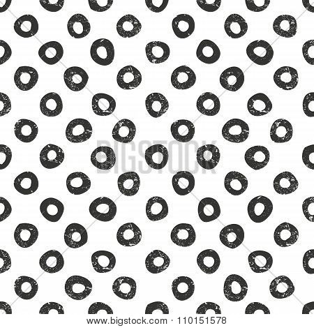 Vector hand drawn dots pattern. Seamless monochrome background with grunge texture.