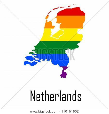 Vector Rainbow Map Of Netherlands In Colors Of Lgbt - Lesbian, Gay, Bisexual, And Transgender - Prid