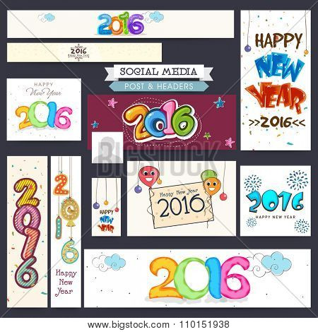 Creative Social Media post and header set for Happy New Year 2016 celebration.
