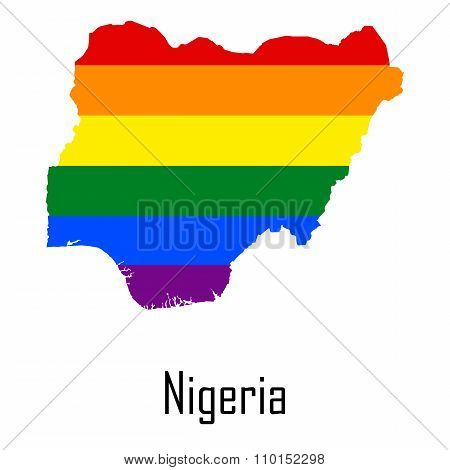Vector Rainbow Map Of Nigeria In Colors Of Lgbt - Lesbian, Gay, Bisexual, And Transgender - Pride Fl