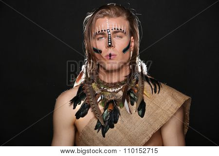 Portrait of Caucasian Man With Native Attire