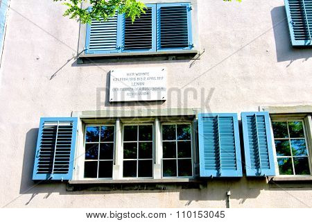 Zurich, Switzeland - 08 June, 2014: The Plaque On The House (spiegelgasse 14) , Where Lenin Lived. T