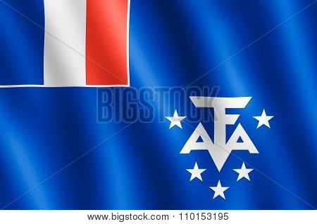 Waving French Southern And Antarctic Lands Flag
