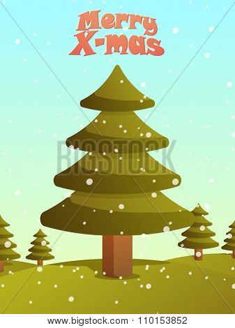 Creative Flyer, Banner or Pamphlet design with Xmas Trees for Merry Christmas celebration.