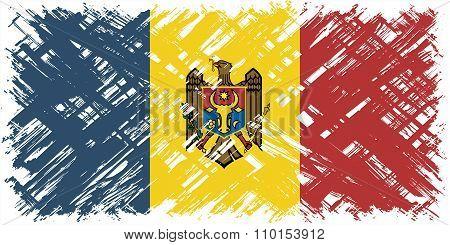 Moldovan grunge flag. Vector illustration.
