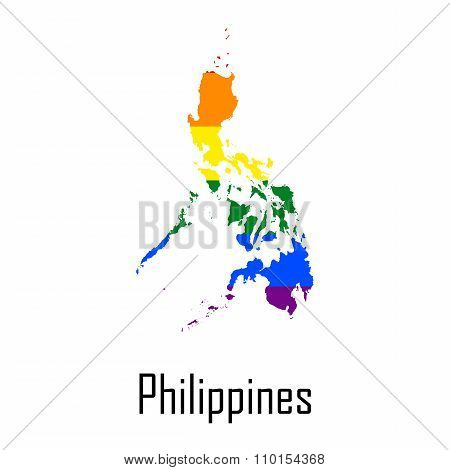 Vector Rainbow Map Of Philippines In Colors Of Lgbt - Lesbian, Gay, Bisexual, And Transgender - Prid