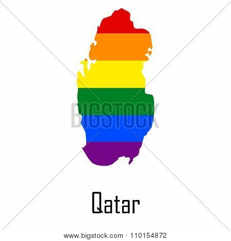 Vector Rainbow Map Of Qatar In Colors Of Lgbt - Lesbian, Gay, Bisexual, And Transgender - Pride Flag