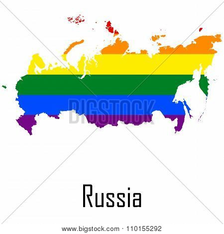 Vector Rainbow Map Of Russia In Colors Of Lgbt - Lesbian, Gay, Bisexual, And Transgender - Pride Fla