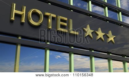 Metallic glass hotel sign board with three golden stars, text and blue sky as background.