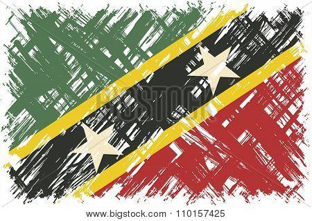 Saint Kitts and Nevis grunge flag. Vector illustration.