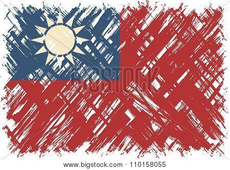 Taiwanese grunge flag. Vector illustration.